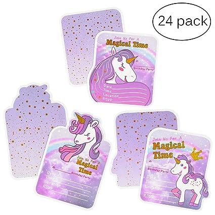 Tarjetas de invitación de cumpleaños de unicornio para niñas, suministros de fiesta de unicornio, 3 estilos, 24 tarjetas con bronceado dorado, 24 ...