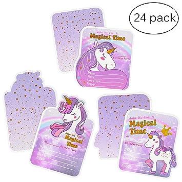Tarjetas de invitación de cumpleaños de unicornio para niñas, suministros de fiesta de unicornio,
