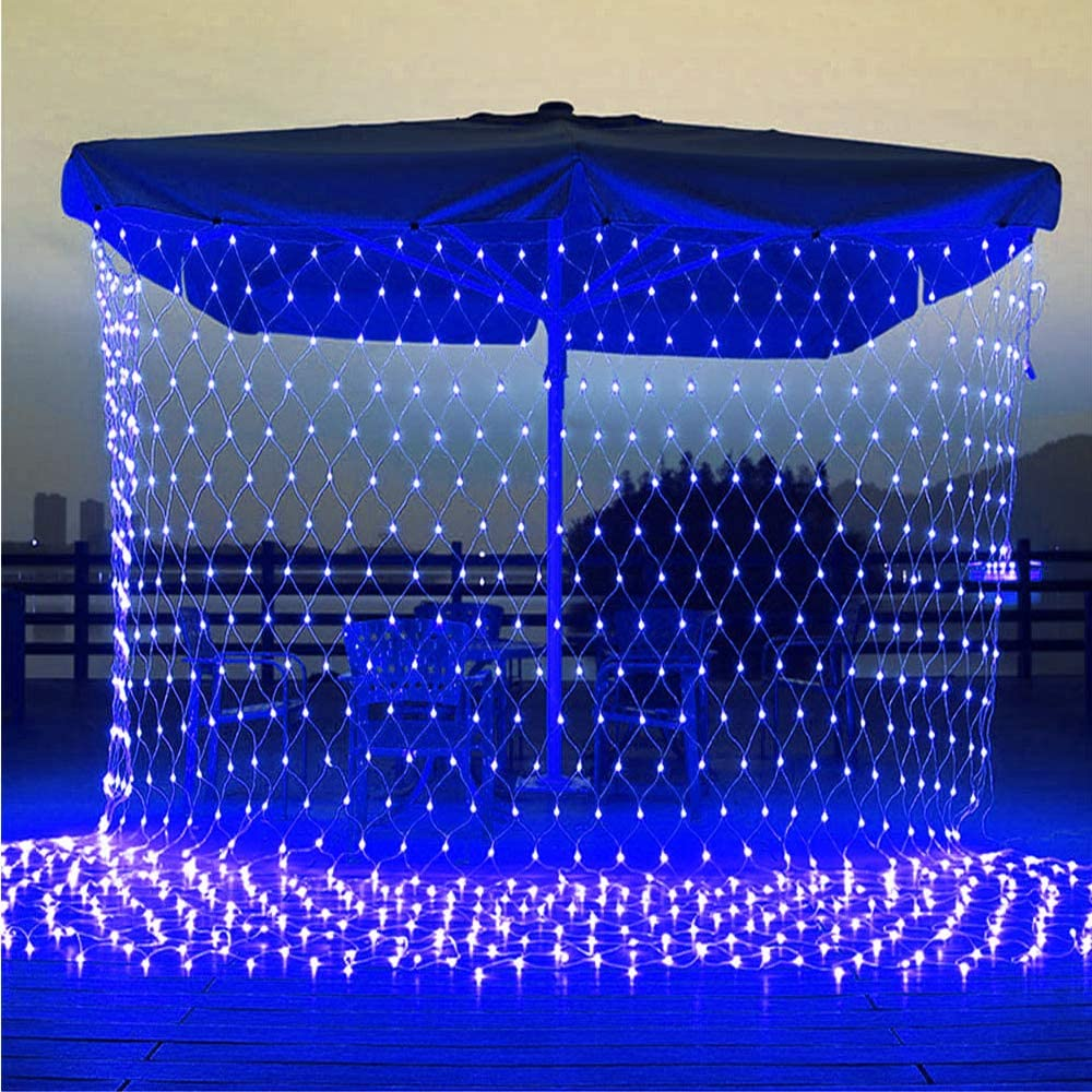 11.5ft x 5ft 360 LED Connectable LED Net Lights, 8 Modes Low Voltage Mesh Fairy String Lights, Christmas Net Lights for Garden, Bushes, Wedding, Outdoor Indoor, Xmas Tree Decorations (Blue)
