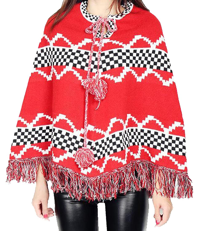 WANSHIYISHE Women Beautiful Christmas Cloak Loose Plus Size Sweater