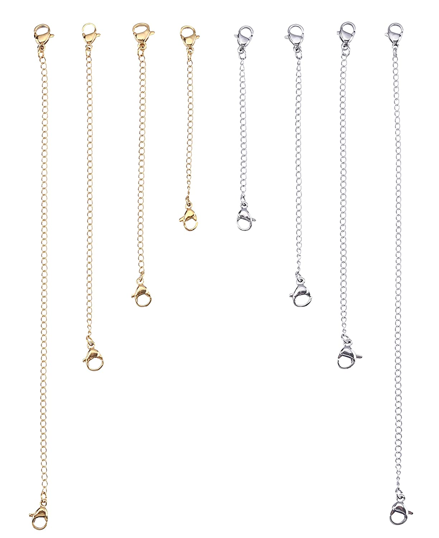 I-MART Stainless Steel Necklace Bracelet Extender Chain Set (8Pcs - 4 Gold, 4 Silver) 4336832494