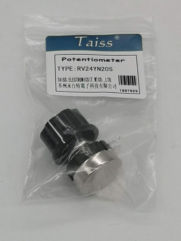 Cono de torsi/ón de carbono simple 1 B 101 100 ohm Taiss//RV24YN20S 100 ohmios, 500 ohmios, 1 K, 2 K, 3 K, 5 K, 10 K, 20 K, 30 K, 100 K, 500 K, potenci/ómetro a elegir, bot/ón A03