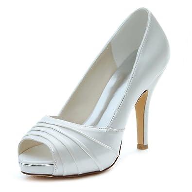 Emily Bridal Elfenbein Hochzeit Schuhe High Heel Peep Pumps Platform Plissee Slip-on Brautschuhe