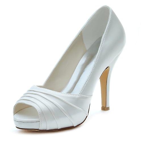 Emily Bridal Zapatos de Novia de Marfil Zapatos de Tacón Alto de Tacón  Plataforma Zapatos de Novia Sin Cordones Plisados  Amazon.es  Zapatos y  complementos 23ef91da82f