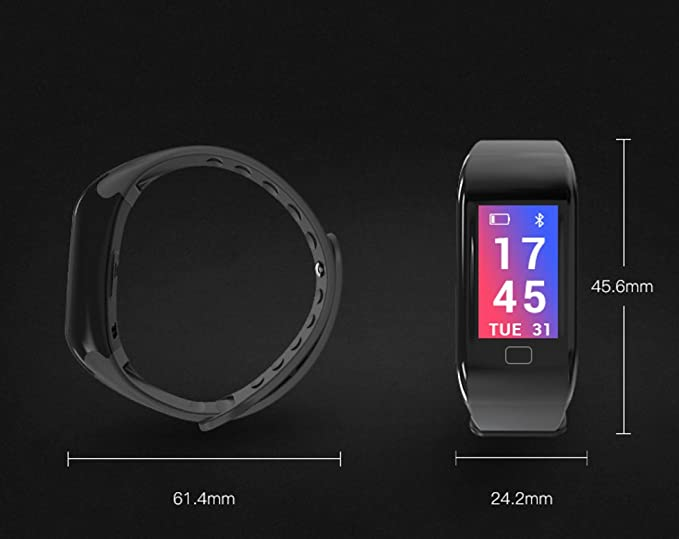 GETFIT (Modelo 2018) - Fitness Tracker con pantalla en color, frecuencia cardíaca, tensiómetro, saturación de oxígeno, podómetro impermeable, etc.).