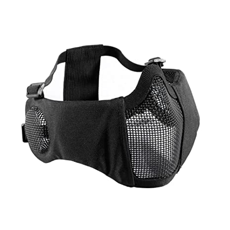"""53689d94 OneTigris 6"""" Foldable Half Face Airsoft Mesh Mask with Ear Protection,  Military Tactical Lower"""