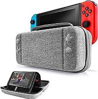 Funda para Nintendo Switch, EFFE Estuche de almacenamiento Bolsa protectora Cubierta rígida de la cubierta de la manija de viaje para Consola y accesorios de Nintendo Switch, 12 cartas de juego, Gris