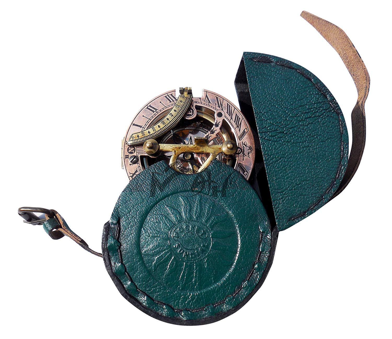 MAH Handmade Brass Sundial Compass Beautiful Gift Item with Leather Box. C-3058 by MAH