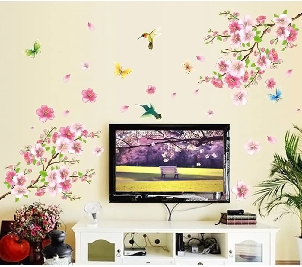 LiveGallery Pink Cherry Blossom Tree with Butterfly Vinyl Art Wall Decal Pink Cherry Blossom Tree Wall Decal, Flower Floral Wall Sticker with Butterfly, Vinyl Art Wall Decal, Wall Decal Mural