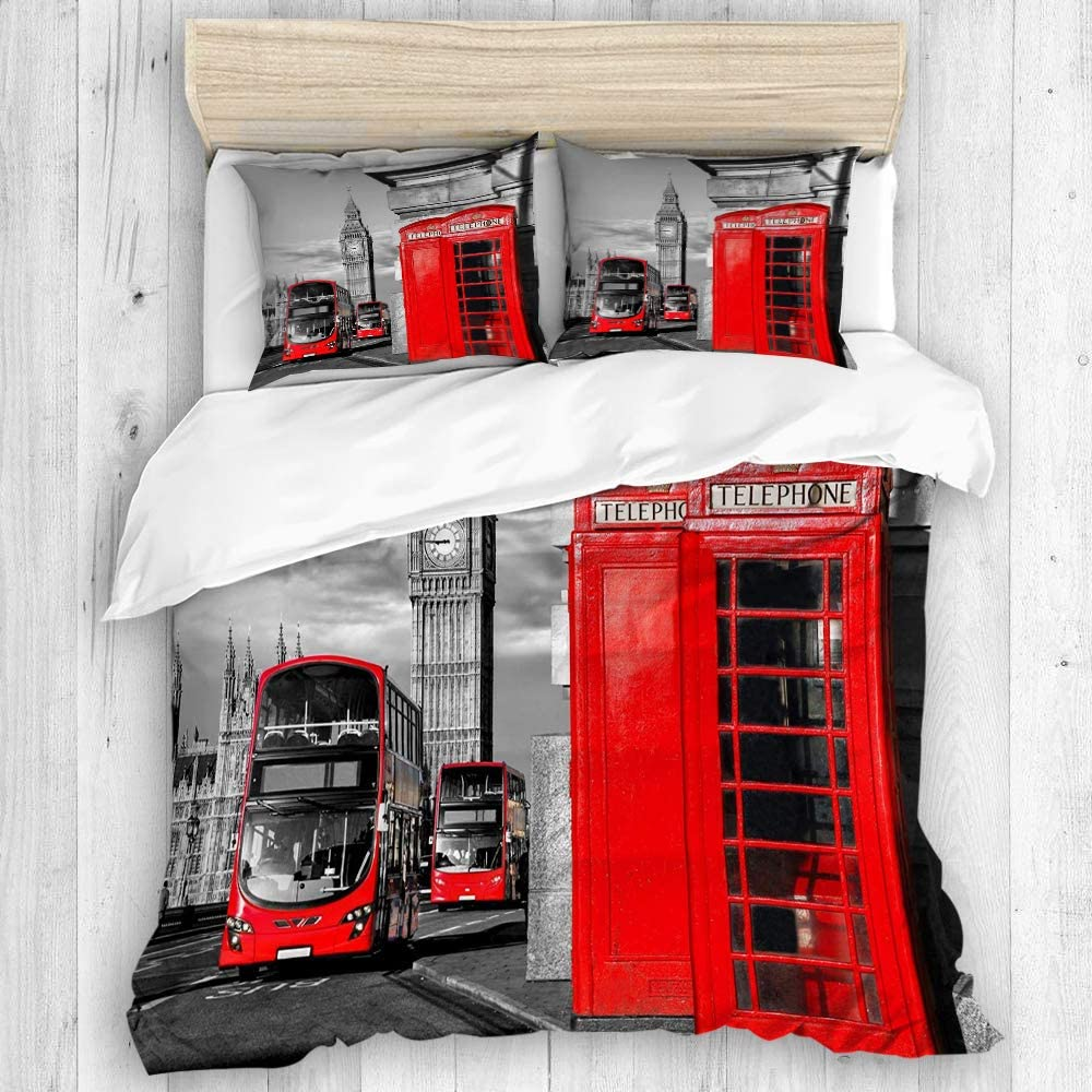 DAHALLAR Duvet Cover Set,London Telephone Booth in The Street Traditional Local Cultural Icon England UK Retro Theme,Decorative 3 Piece Bedding Set with 2 Pillow Shams Queen Size