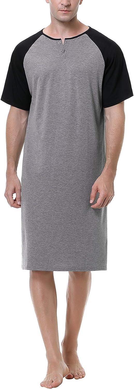 Sykooria Camisas de Dormir de algodón para Hombre, Pijama Suave Informal, Ropa de Dormir a Cuadros, Camisa Henley de Manga raglán Holgada, Ropa de Dormir con Botones