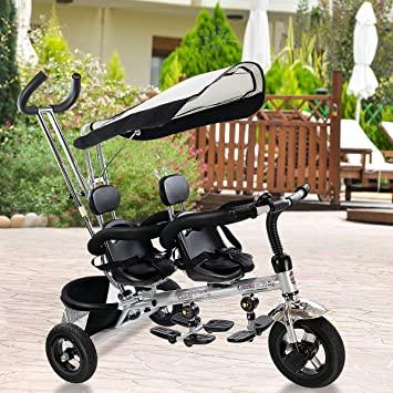 5be7e13f0d7 Amazon.com: Costzon Kids Trike, 4 in 1 Twins Tricycle, 360°Rotatable ...
