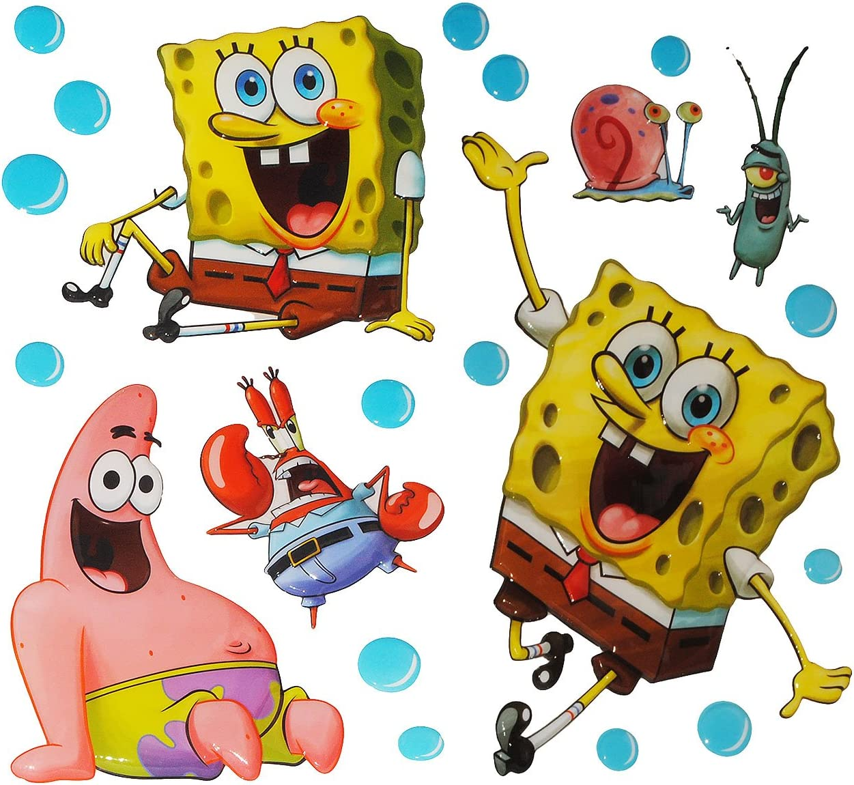 Spongebob Robert Schammkopf alles-meine.de GmbH 9 TLG Set: 3-D Effekt /_ XL-Wandtattoo // Fensterbild // Sticker P.. selbstklebend Pop-Up Aufkleber Wandsticker wasserfest