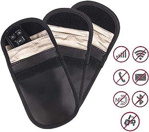Mengshen Car Key Signal Blocker Pouch Case, (3 Pack) Faraday Bag RFID Signal Blocking Bags, Car Anti Theft Protection