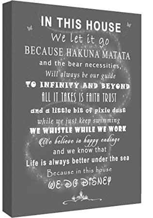 We Do Disney In This House Quote on CANVAS WALL ART Picture Print Grey