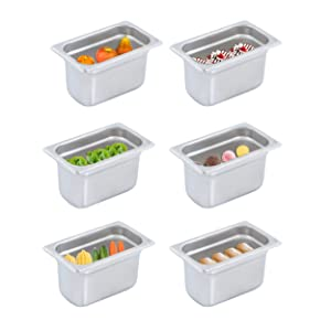 """HOCCOT 6 Pack 1/9 304 Stainless Steel 2.6"""" Deep Commercial Hotel Pans Steam Table Pan Catering Food Pan NSF Thick Food Containers"""