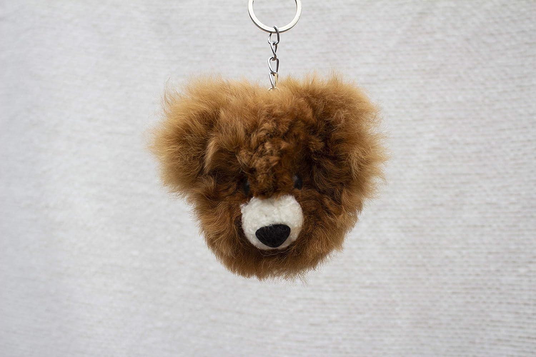 Alpaca Fur Keychain Brown Bear