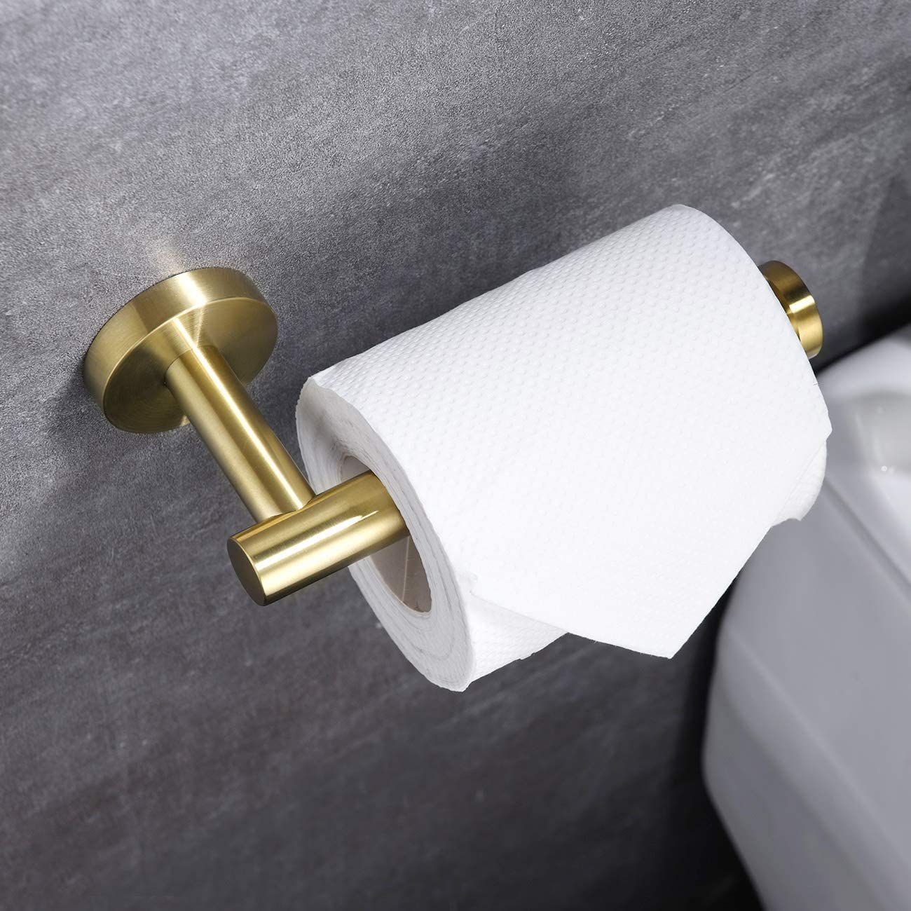 KLXHOME SUS304 Stainless Steel Bathroom Lavatory Toilet Paper Holder 5 inch TP Holder Paper Towel Dispenser Wall Mount Brushed Gold C01G12