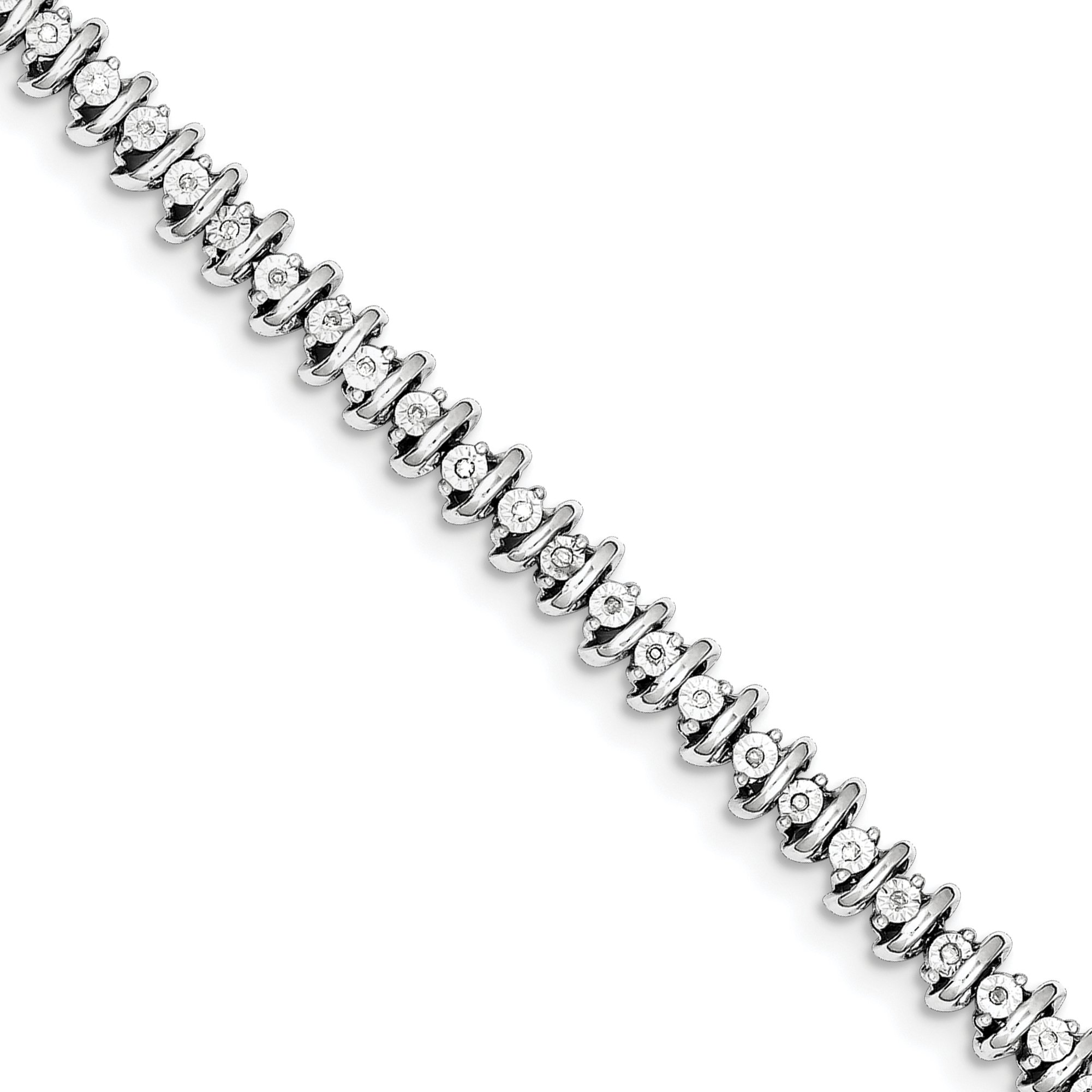 ICE CARATS 925 Sterling Silver Diamond Tennis Bracelet 7 Inch Add-a-