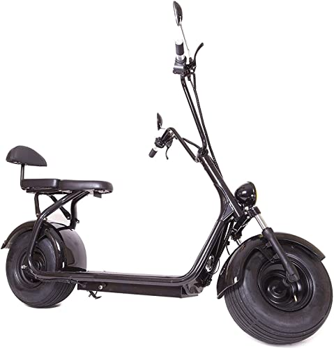 eDrift ES295 2.0 Electric Fat Tire Scooter Moped with Shocks 2000w Hub Motor Harley E-Bike 20AH, White