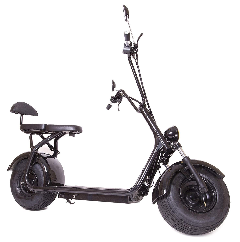 eDrift ES295 2.0 Electric Fat Tire Scooter Moped with Shocks 2000w Hub Motor Harley E-Bike 12AH, Black