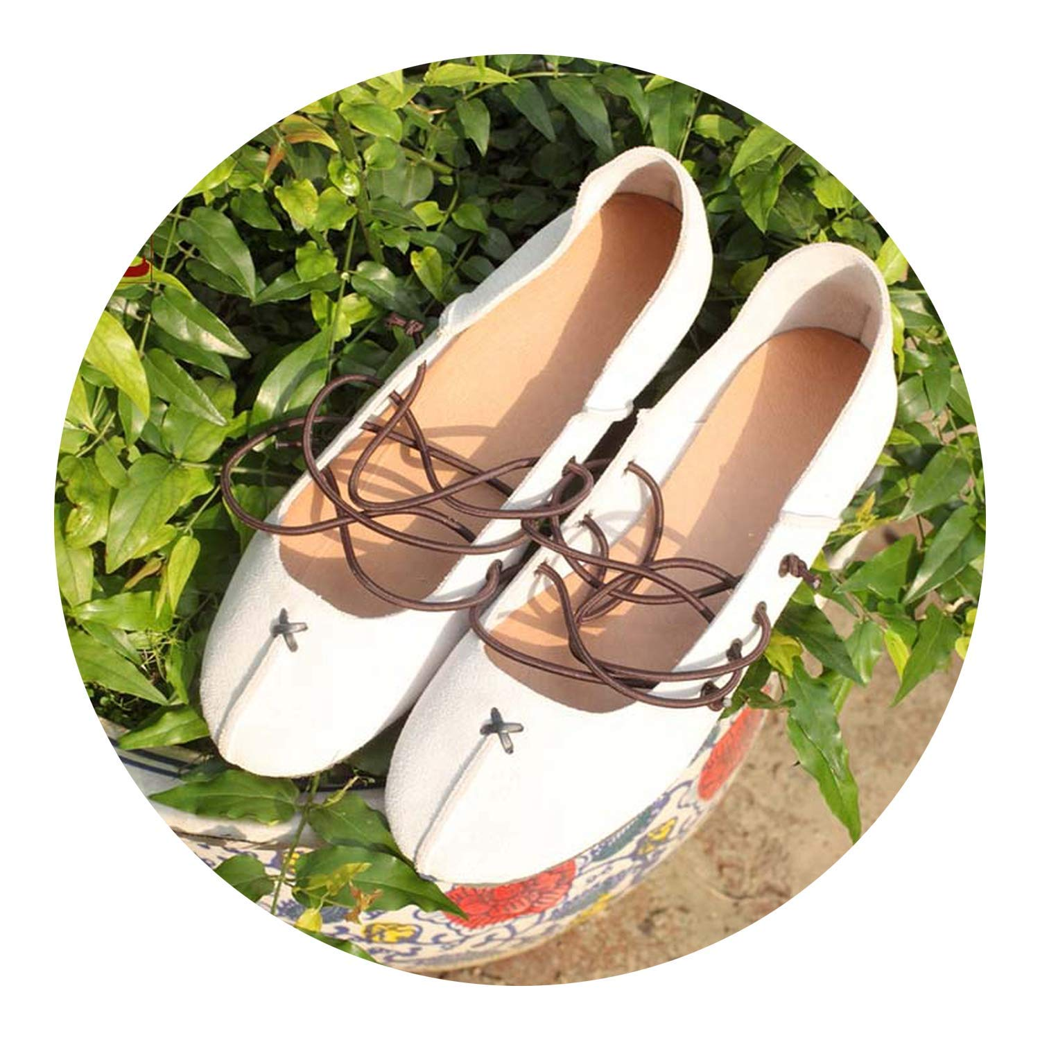 Ballet Footwear Flats Handmade Genuine Leather Straps Casual Shoes Green Flats for Big Size,5.5M,White