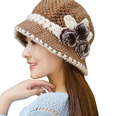 Femme Chapeau Ski Crochet Tricoté Fleurs DéCoréEs Hiver Chaud Bonnets De  Laine Cache-Oreilles Tricot f12d9ab261b