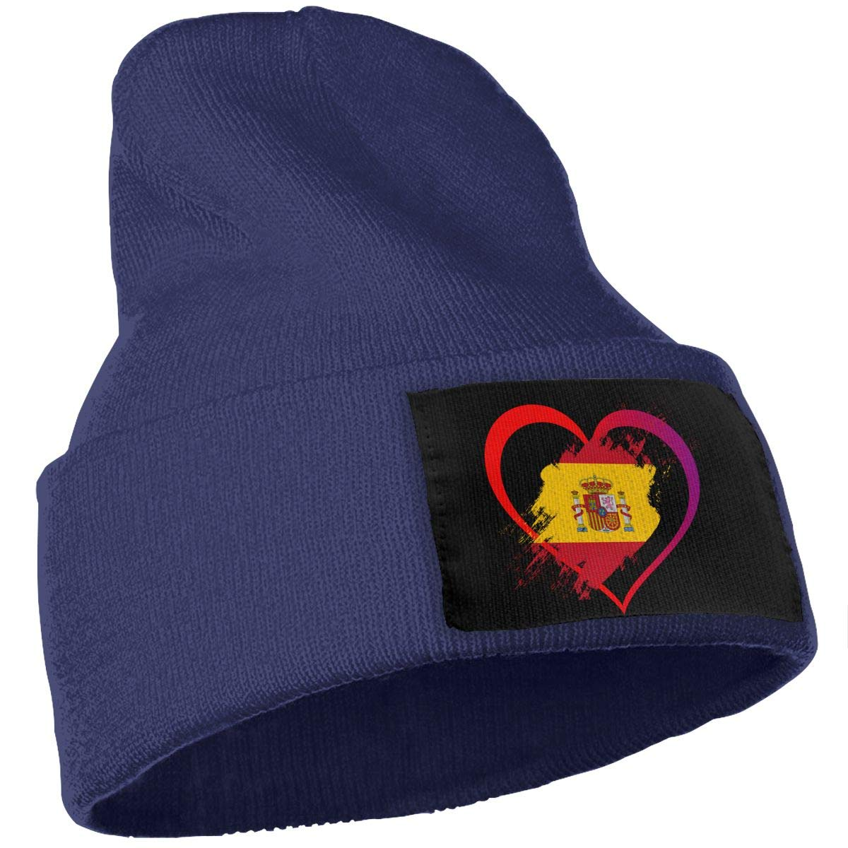 Heart Shaped Flag of Spain Fashion Skull Cap WHOO93@Y Mens Womens 100/% Acrylic Knit Hat Cap