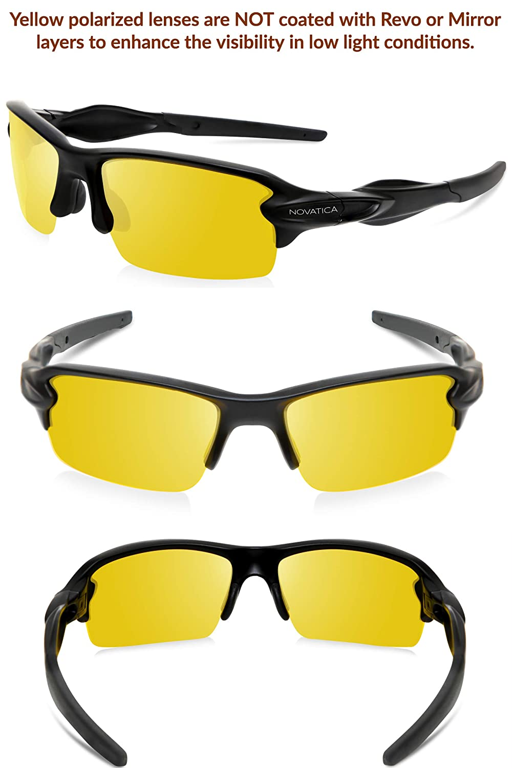 cf73ffe1d8 Amazon.com  NOVATICA Anti Glare Night Driving Polarized TAC Glasses - HD  Vision - UV Protection - Sport Sunglasses - Men   Women - Yellow Lenses -  Durable .