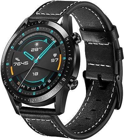 Imagen deSPGUARD Pulsera Compatible con Correa Huawei Watch GT 2 46mm,Pulsera de Repuesto de Cuero de 22mm con Liberación Rápida para Huawei Watch GT 2 46mm-Negro