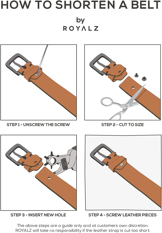 cuero completo antiguo 38mm correa para vaqueros con hebilla de espina ROYALZ Vintage 4mm Cintur/ón de cuero de b/úfalo robusto 4mm de cuero para hombre