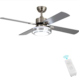 Indoor Ceiling Fan Light Fixtures - FINXIN Remote LED 52 Brushed Nickel Ceiling Fans For Bedroom,Living Room,Dining Room Including Motor,Remote Switch (4-Blades)