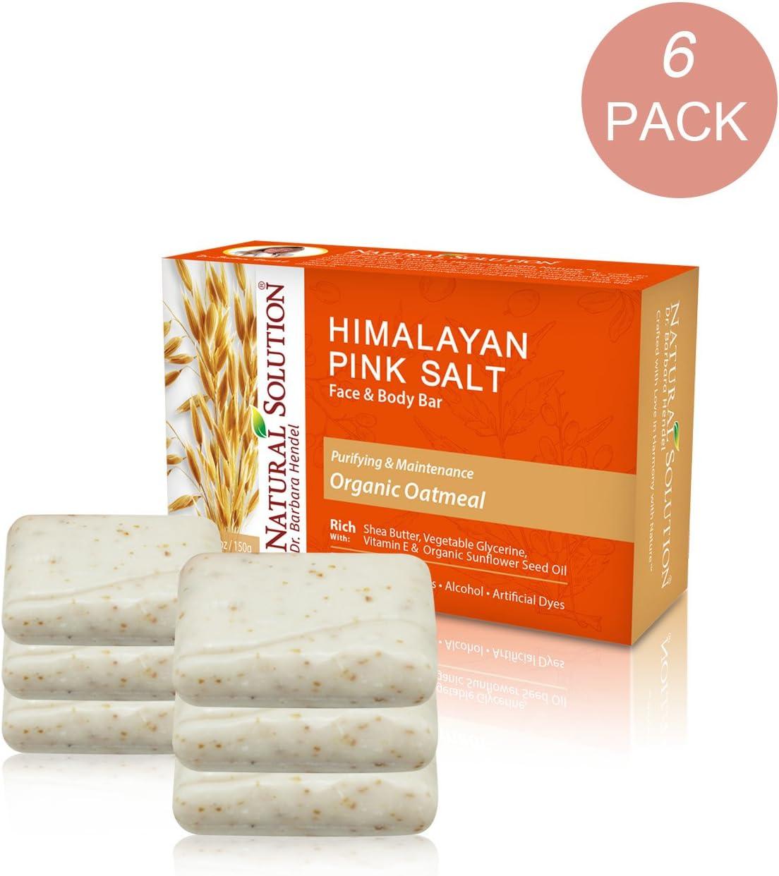 Natural Solution Himalayan Pink Salt Soap Bar,Moisturizing And Organic Bar Soap,Oatmeal - 5.2 oz Each (6 Pack)