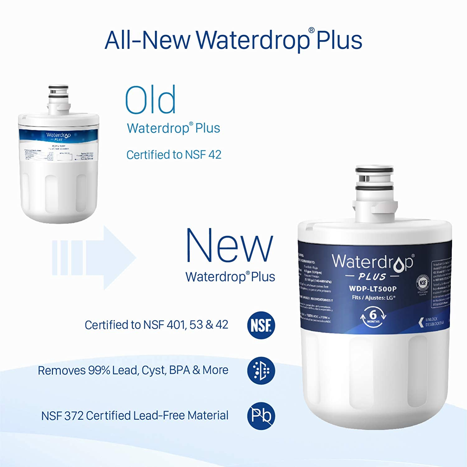 Reduce Lead Kenmore GEN11042FR-08 469890 Benzene and More Ltd. ADQ72910907 Waterdrop Plus Refrigerator Water Filter ADQ72910901 Chlorine 9890 Compatible with LG LT500P Cyst 46-9890 NSF 401/&53/&42 Certified Qingdao Ecopure Filter Co 5231JA2002A