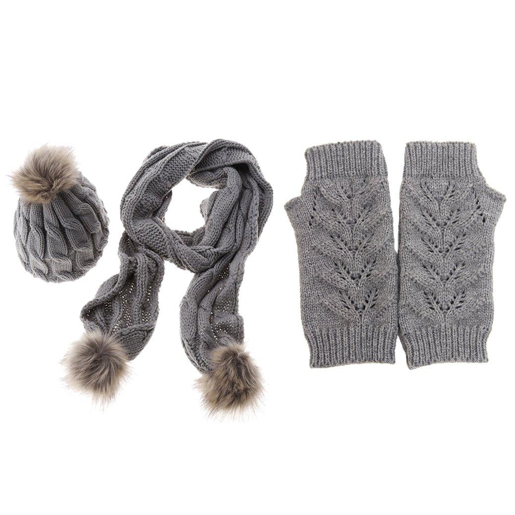 Jelinda Women Girls Knitted Beanie Hat Scarf Gloves Warm Autumn Winter Thermal Set (Grey)