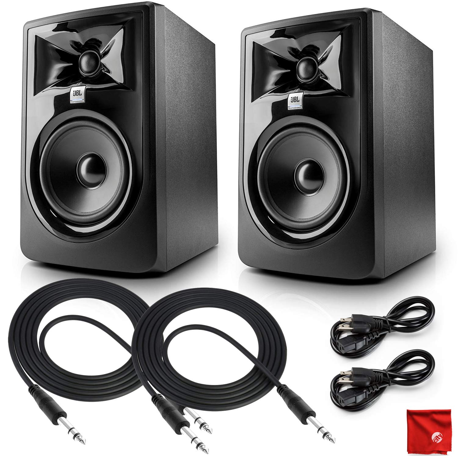 JBL 305P MKII Professional Twin Monitor Bundle with Two TRS Cables and Microfiber Cleaning Cloth