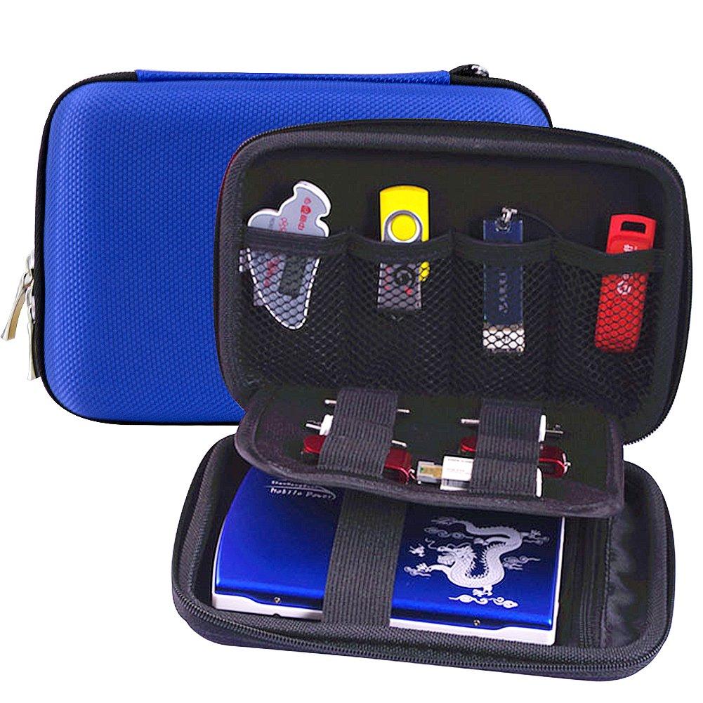 Elvam EVA Shockproof Waterproof Portable Hard Drive Case Bag / Cable Case Bag / USB Flash Drive Case Bag / Power Bank Case Bag / GPS Case and Digital Camera Case - Blue