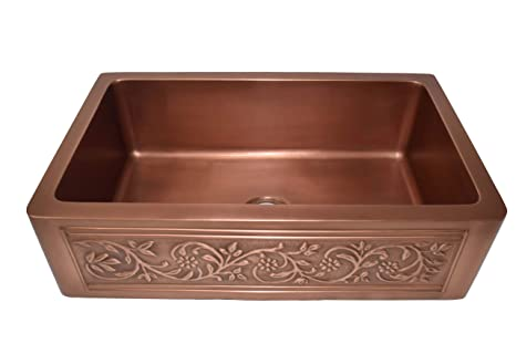 Empire Industries Ve30s Versailles Farmhouse Copper Kitchen Sink With Grid And Strainer 30