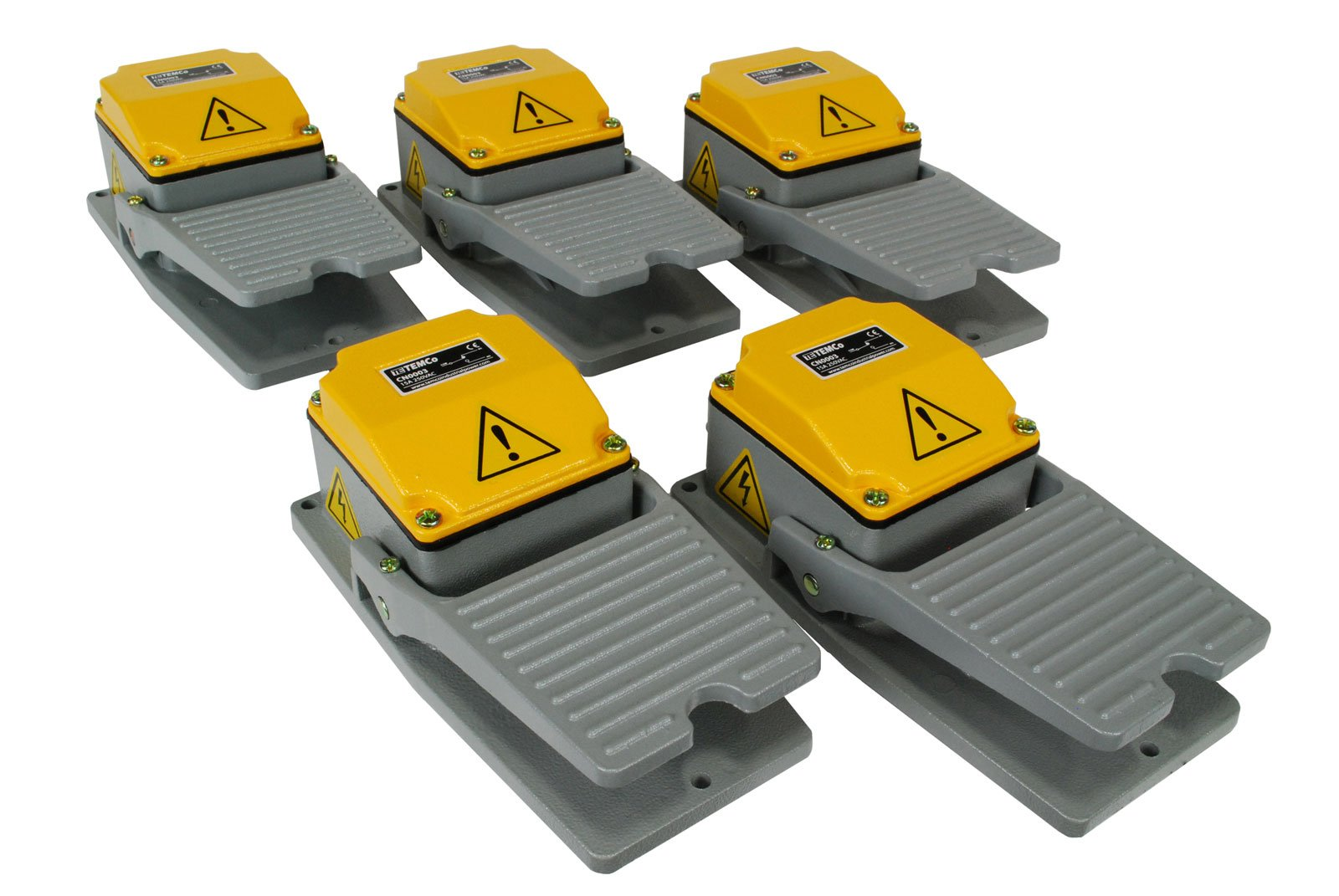 TEMCo Heavy Duty Foot Switch 5 QTY - Cast Aluminum Foot Switch 15A SPDT Electric Pedal Momentary 5 YEAR WARRANTY