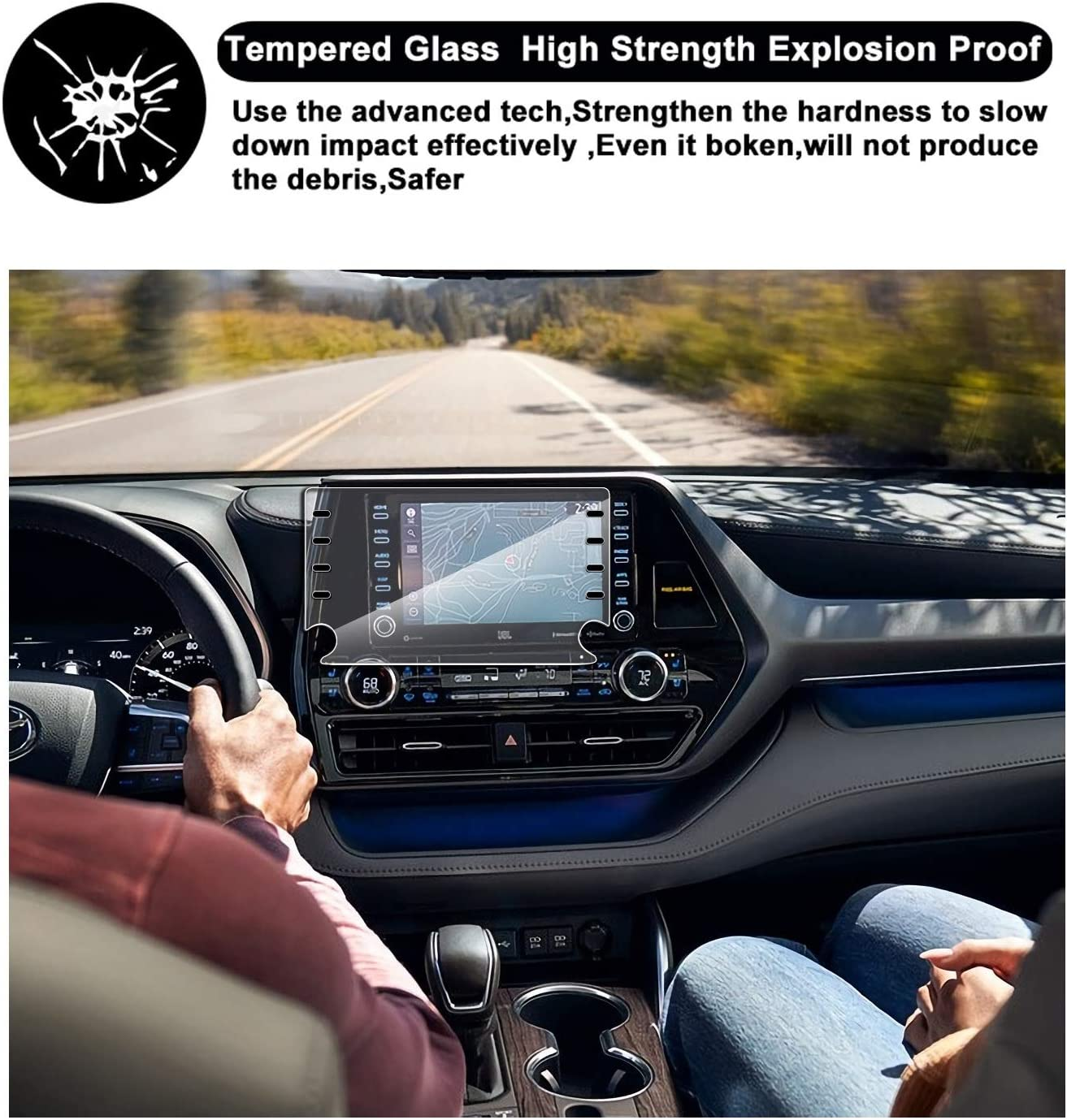 Screen Protector Compatible With 2020 2021 Toyota Tundra 8 inch Screen,Littrain,Tempered Glass,Anti Scratch,Navigation Accessories Compatible with Toyota Tundra
