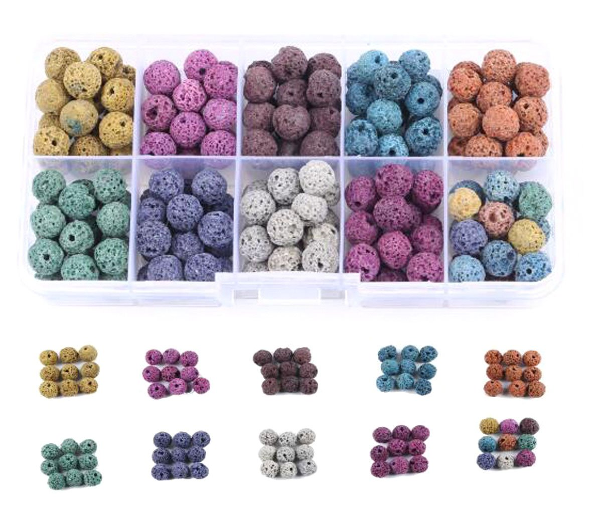 1 Box (Approx 180 Pcs) Multicolor Lava Stone Beads Round Rock Beads - 8mm Volcanic Loose Beads for Necklace Bracelet Jewelry Making Nicedmm