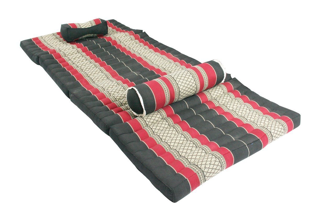 Red Dreams, Thai Massage Set: Foldable Mat + Massage Pillow and Bolster, Burgundy&black (All Filled with 100% Kapok).