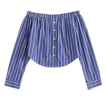 Baiggooswt Blusa de Moda para Mujer, con Hombros Descubiertos, a ...