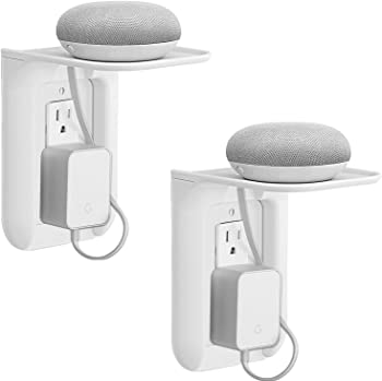 2-Pack Wali Vertical Wall Outlet Shelf with Cable Channel for Charging