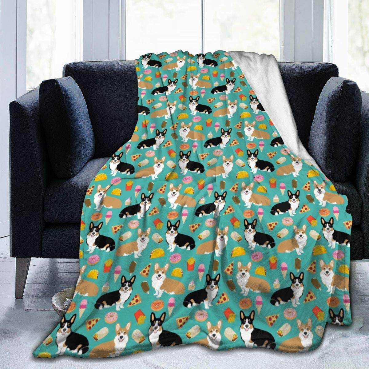 Adult Child Super Soft Blankets, Welsh Corgi Junk Food Super Warm Throw Wrap Large Throw Wearable Cuddle, Office Blankets