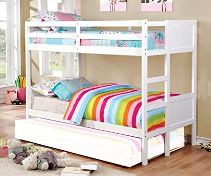 Amazon Com Annette White Solid Wood Twin Twin Bunk Bed By Furniture