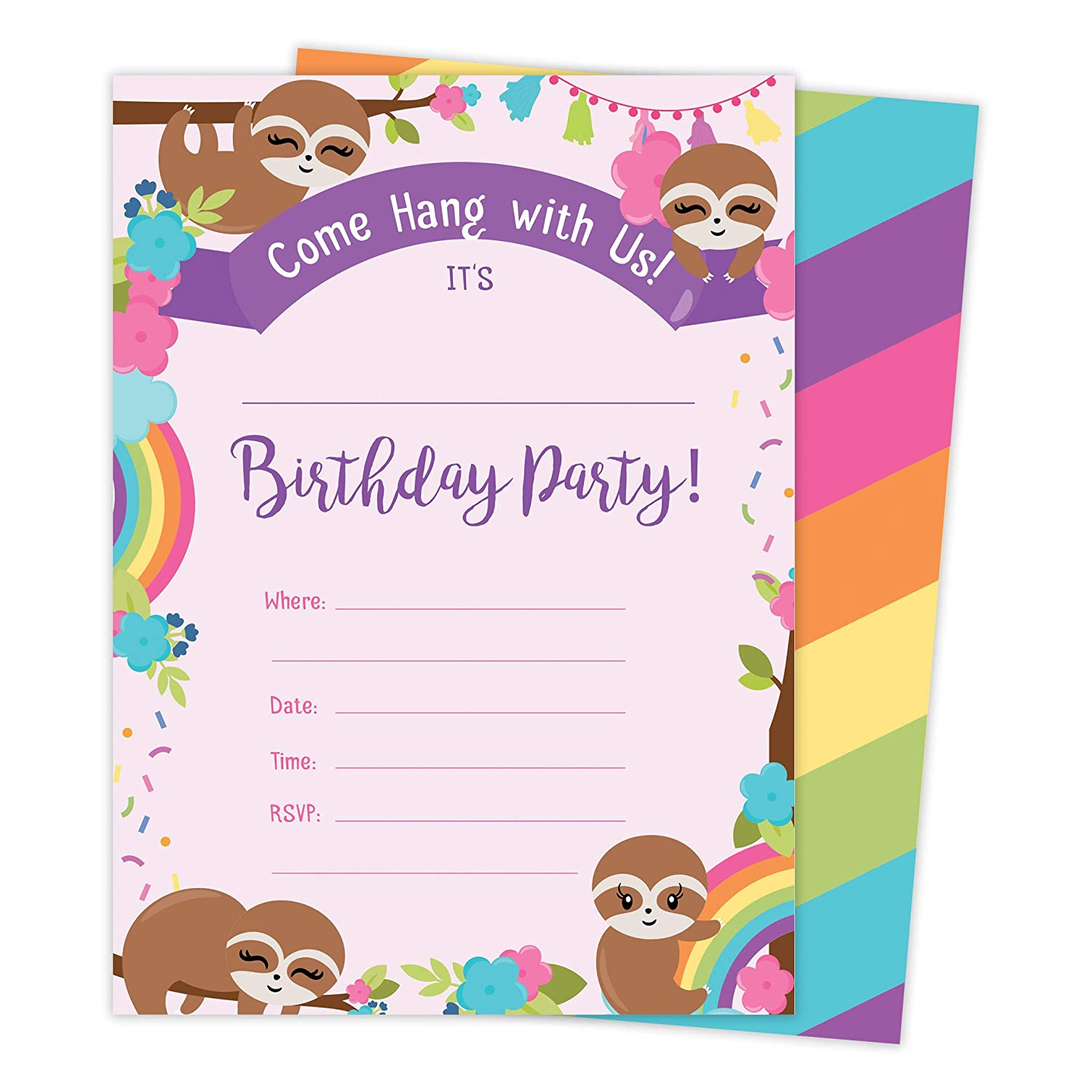 Sloth 1 Happy Birthday Invitations Invite Cards With Envelopes /& Seal Stickers Vinyl Boys Girls Kids Party 25 Count 25ct