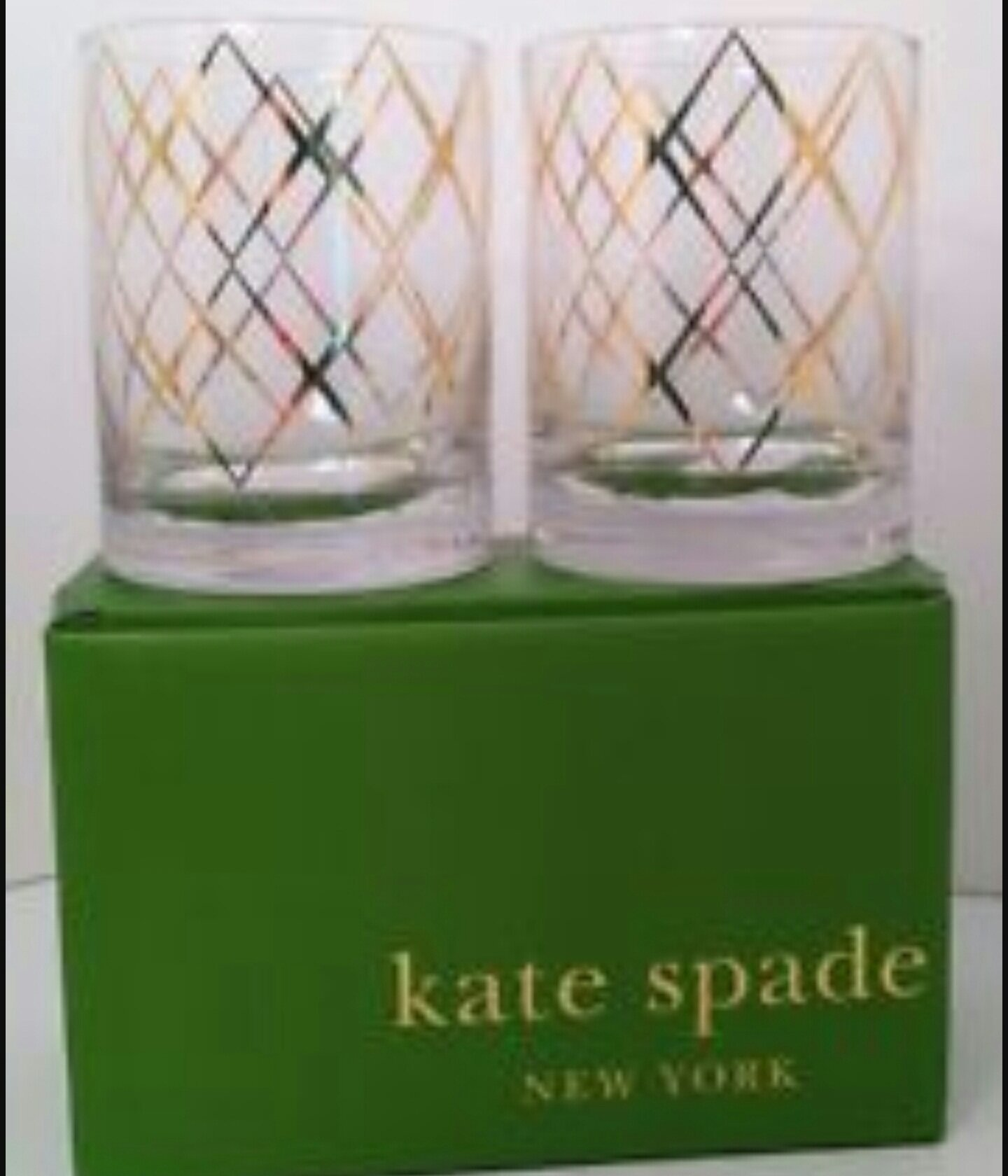 Kate Spade Lenox Gold Trellis Set of 2 Whisky Glasses