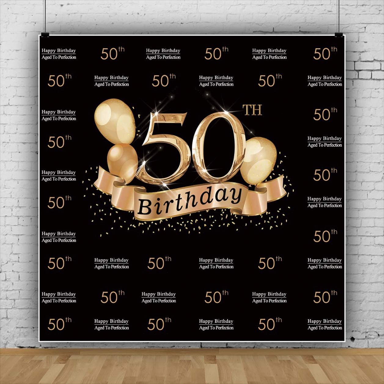 YEELE 50th Birthday Photography Background 10x10ft Golden 50 Birthday Step and Repeat Backdrop Woman Man Mother Portrait Dessert Table Decor Photo Booth Photoshoot Banner Digital Wallpaper