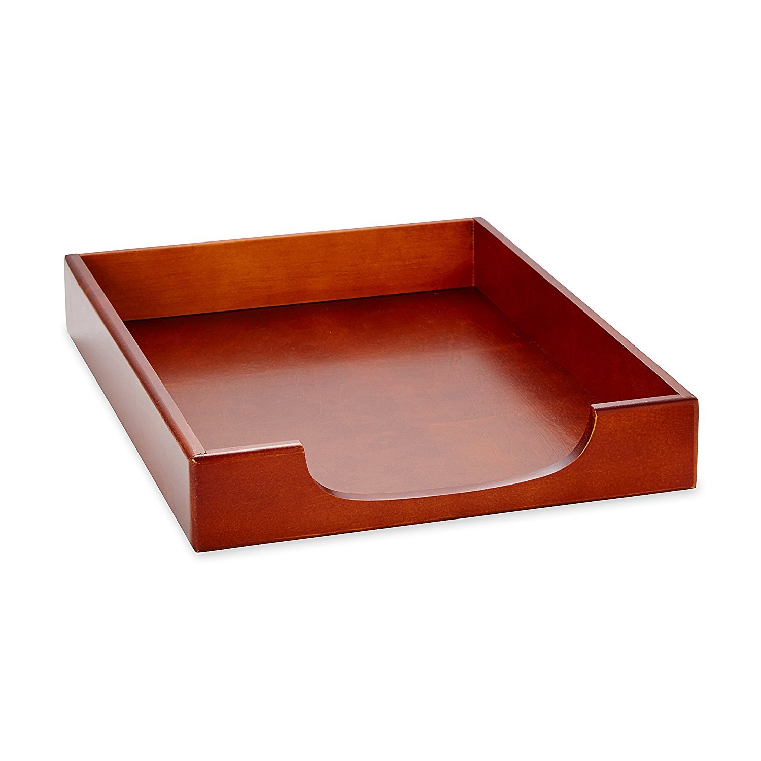 Rolodex Desk Tray 1 Unit 23350 Mahogany Wood Tones Front Load Stacking Letter Tray